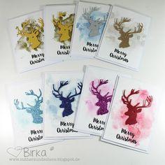 Weihnachtskarten mit Glitzer-Hirsch Christmas Deer, Christmas Cards, Stag Deer, Card Making, Paper Crafts, Instagram Posts, Handmade, Cas, Stamping