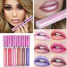 Glitzy Glitter WATERPROOF Liquid Lipstick Metallic Lip Gloss Beauty Makeup NEW