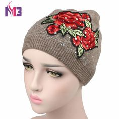 44dd1d0d137 New Women Beanies Hat Knitted Cashmere Beanie Skullies Hats Casual Cap  Beanies for Women Floral Rhinestone