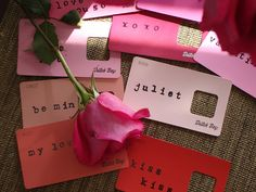 Paint Chip Valentine Word Cards