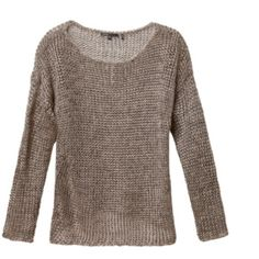 Vince Metallic Sweater Gently worn, however there is some fraying. Very delicate material. Priced accordingly. Price is firm. No trades, no pp. second picture i. Similar style to  show  fit. Vince Sweaters Crew & Scoop Necks