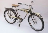 1948 Schwinn Autocycle - Restored back to factory specifications by Schwinn restoration specialist, Bob Usasi. Done in black and cream, this beautiful Schwinn is what dreams were Old Bicycle, Cruiser Bicycle, Old Bikes, Cycling Outfit, Cycling Clothes, Cool Bicycles, Bicycle Design, Vintage Bicycles, Custom Bikes