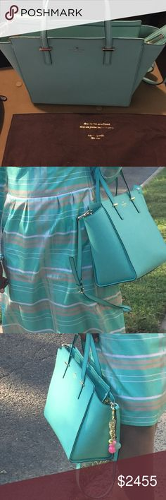 Kate Spade Bag Turquoise Color 🎉🌸👛 This blue bag is FABULOUS lightly used once  !!! kate spade Bags Hobos