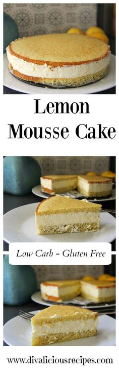A lemon mousse cake that is simple to make as well as being low carb and gluten free too. This cake makes an elegant dessert or afternoon treat. Recipe - http://divaliciousrecipes.com/2017/04/10/lemon-mousse-cake/