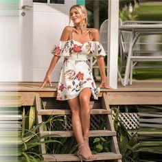 c3dafb3223 Floral Ruffle Boho Summer Dress 2018 Short Sleeve Sheath Short Beach Sexy  Dress