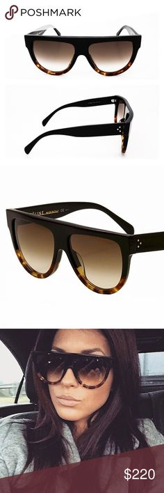 Celine Shadow Sunglasses Black Tortoise CL41026 Legendary Celine Shadow model in most popular sold out color Black-Tortoise. As seen on world class celebrities and well known for numerous public appearances of Kim Kardashian and other family members wearing these sunglasses. Made in Italy, authentic, come with original case (black suede pouch), cloth and box (white envelope). Model number CL41026/S FU5/51 2N. Sunglasses are pilot style, oversized. Gradient lenses. Celine Accessories…