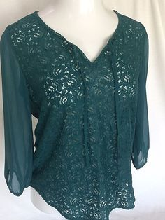 Size Small Lucky Brand Lace Top Sheer Deep Teal Green Boho Festival  #LuckyBrand #Blouse