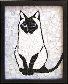 Black & white mosaic cat