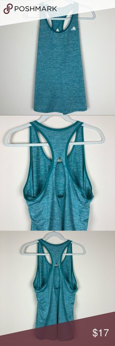 Adidas | Workout Tank Top in Blue/Green XL Adidas workout tank top with cute back detail.  Condition: like new. Worn once and washed. Size: XL adidas Tops Tank Tops