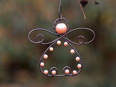 Dekorácie - Andělíček-lososový. Vánoční ozdoba - 4839105_