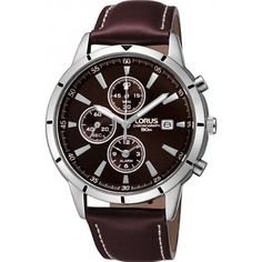 Lorus by Seiko Gents Chronograph Brown Leather Strap Watch RF331BX9