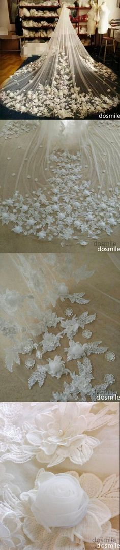 New Design 3 D flower Appliques 1 T Cathedral veil Long Lace Edge Purfles Black Bridal Wedding Veils Mantilla With Comb Garden Wedding Dresses, Bridal Dresses, Wedding Veils, Wedding Favors, Bridal Veils, Purple And Gold Wedding, Bridal Poses, Bride Accessories, Bridal Tiara