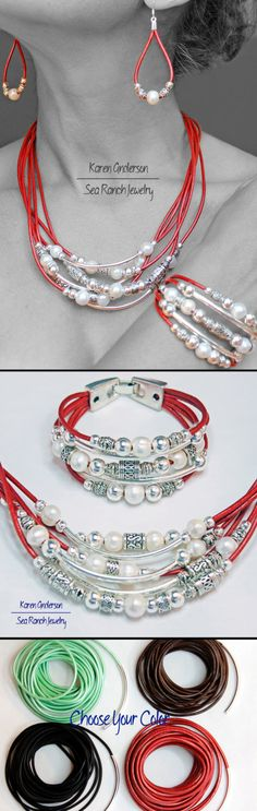 "This is Pearlfection, simply ""pearl-fect"" beaded leather jewelry by Sea Ranch Jewelry.  Freshwater pearls, silver beads, choice of leather cord color. Casually elegant, colorful, comfortable to wear. - pinned by pin4etsy.com"