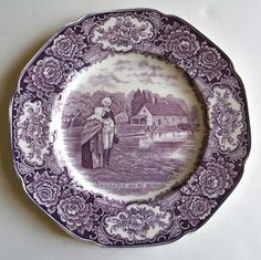 Crown Ducal Colonial Times PURPLE / Lavender TRANSFER WARE PLATE George Washington and his Mother Circa 1932 For consideration is this highly collectible, historical Staffordshire plate depicting the Antique China, Vintage China, China Tea Sets, French Home Decor, Vintage Dishes, China Patterns, Porcelain Ceramics, Plates On Wall, Tablescapes