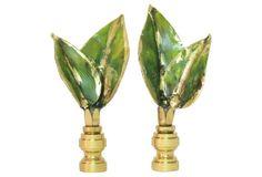Large Italian Tole Leaf Finials