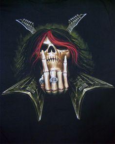 Tattoo Biker Rock Mens T-shirts, Vampire Skeleton Custom Electric Lead Guitar Player Amp Speaker T-shirt Metal Skull, Skull Art, Dark Fantasy Art, Dark Art, Leo Tattoo Designs, Grim Reaper Art, Heavy Metal Art, Metal Fan, Totenkopf Tattoos