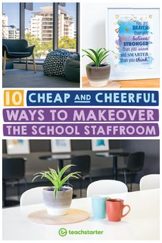 10 Cheap and Cheerful Ways to Update the Staffroom A school staffroom makeover is the perfect way to boost morale in a school community. Check out our 10 cheap and cheerful ways to update a school staffroom. Staff Lounge, Student Lounge, Teacher Lounge, Teachers Room, Staff Room, Lounge Decor, Lounge Ideas, Lobby Lounge, Diy Home