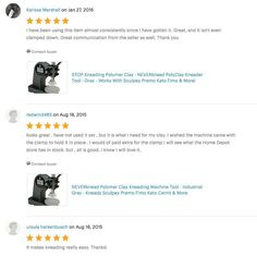 5 Star Reviews on Etsy for The NEVERknead Polymer Clay Kneading Machine - get yours at NEVERknead.com today! Polymer Clay Tools, Machine Tools, Spice Things Up, Conditioner, How To Get, Polymers, Stars, Etsy, Fimo