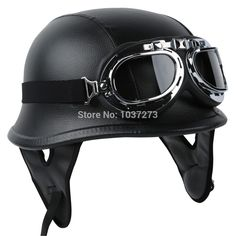 Casque-moto-Biker-WWII-Style-DOT-Black-Leather-German-Motorcycle-HALF-Helmet-w-Pilot-Goggles-Free.jpg (1000×1000)