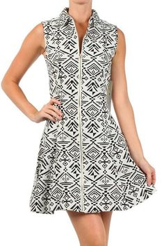 Zip Up Fit-n-Flare Aztec Print Dress ($59) Versatile fit-n-flare, collared dress featuring an all-over Aztec print, front zipper closure, and 100% cotton, textured fabric that's perfect for fall. Wear it as shown in warmer climates or layer it over a long sleeve tee and tights in colder temperatures.