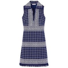 Tory Burch Carlsbad Dress ($279) ❤ liked on Polyvore featuring dresses, navy sea tweed, tory burch, deep v neck dress, navy dresses, graphic dress and border print dress