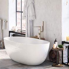 MAYKKE Barnet Acrylic Bathtub Retains Heat White Modern Oval Freestanding Comfortable Soaking Tub in Bathroom Lavatory, Shower cUPC certified, Drain & Overflow Assembly Included Stand Alone Tub, Acrylic Tub, Best Bathtubs, Freestanding Tub Filler, Modern Bathtub, Sr500, Simple Bathroom, Bathroom Ideas, Bathroom Goals
