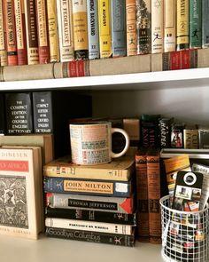 "samiholloway: "" macrolit: ""Small scene on a shelf, part 397 (featuring vintage Modern Library books and my First Lines mug) "" I loooovvvvveeee Modernnnnnn Librarrrryyyyyyyy "" Iff youuuu doo yooouu'''llllll looooooovvvee thiiiiiss! =D"