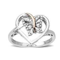 Diamond Accent Heart with Butterfly Ring in Sterling Silver and 14K Rose Gold $84.15