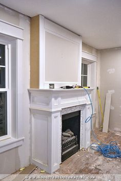 How to design and build gorgeous diy fireplace built ins white how to build a quick and easy fireplace overmantel solutioingenieria Images