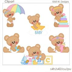DIGITAL SCRAPBOOKING CLIPART  Baby Marshmallow & Honey