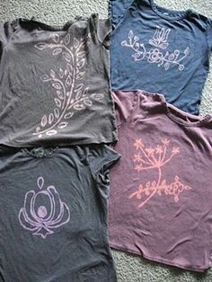 """DIY Bleach Pen T-Shirts. Draw your picture in chalk first then go over it with a bleach pen. holy coolness >> whoa! What a smart idea, one of those """"how did I never think of that"""" moments!"""