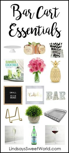 Wish List - Styling My Bar Cart How to style a bar cart and bar cart essentialsHow to style a bar cart and bar cart essentials Diy Bar Cart, Gold Bar Cart, Bar Cart Styling, Bar Cart Decor, Mini Bars, Bar Cart Essentials, Outside Bars, Trendy Bar, Apartment Essentials