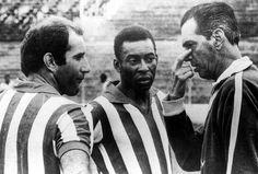 """1970: Observado por Gérson, Pelé ouve as instruções do técnico João Saldanha, o """"João sem Medo""""."""