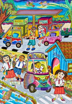 'My Liliput Kid's Car' by Alyarosa Taqwaariva, Aged 8, Indonesia: 3rd Contest, Bronze #KidsArt #ToyotaDreamCar