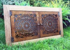 Beautiful big spice cabinet / spice rack for kitchen with amazing oriental doors (walnut)