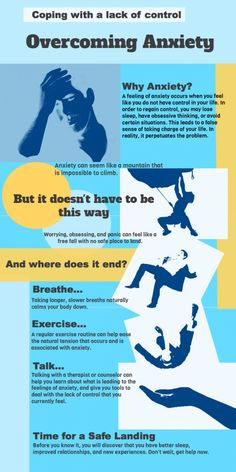 Coping with a lack of control: overcoming #anxiety. #emotion #Psychology #Infographic │ http://www.advancecounselingcentre.com/