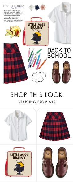 """""""Little Miss Brainy"""" by molly2222 ❤ liked on Polyvore featuring Lands' End, Olympia Le-Tan, Dr. Martens, Monsoon and BackToSchool"""
