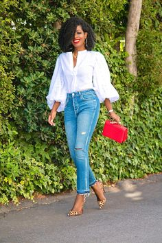 Style Pantry | Eyelet Bishop Sleeve Blouse + High Rise Cropped Jeans Casual Work Outfits, Classy Outfits, Stylish Outfits, Casual Wear, Work Fashion, Denim Fashion, Fashion Outfits, Womens Fashion, Mode Kimono
