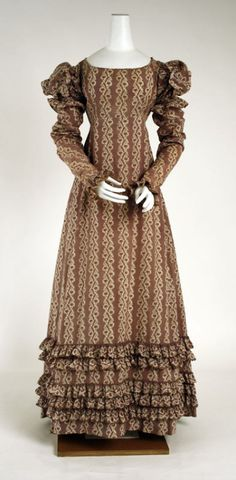 An American printed cotton dress from 1818 with wonderful ruffles.
