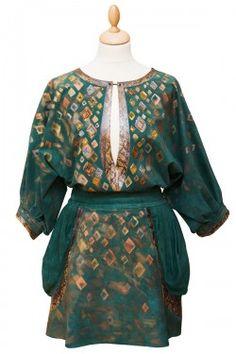 Туника и юбка замшевые с росписью и вышивкой, вставки кожа змеи