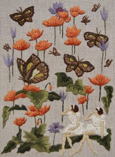 "The straying of butterflies - 6 x 8"" embroidery on linen"