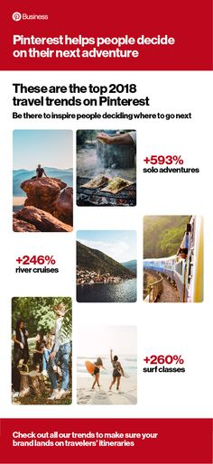 2018 Travel trends on Pinterest. From where you go to how you get there, travel planning happens on Pinterest. Check out all the travel trends on our blog. #travel #trends
