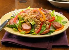 Smoked Sausage and Brown Rice Garden Salad w/ Tomato Balsamic Dressing. Tip: Uncle Ben's Ready Rice & Johnsonville Smoked Split Rope Sausage make this recipe so quick to prep! Rice Recipes, Salad Recipes, Dinner Recipes, Cooking Recipes, Healthy Recipes, Balsamic Dressing, Sausage Breakfast, Side Salad, Brown Rice