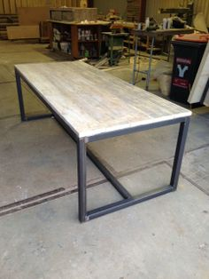 Table wood and black steel