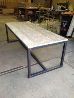 Table wood and black steel