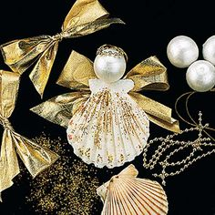 christmas tree decorations in golden colors