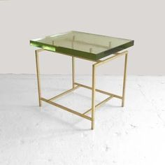 "KGB  hand poured, 1 ½"" thick Borosilicate glass top: FRAZIER SIDE TABLE"