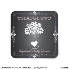 Chalkboard Mason Jar Thank You Favor Stickers