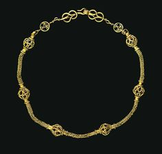 AN EARLY BYZANTINE GOLD NECKLACE CIRCA 4TH CENTURY A.D. Composed of five lengths of loop-in-loop chain, joined at each end to spool-shaped ribbed caps edged with beaded wire, each flanking an openwork ball formed from merged loops of beaded wire, the hook-and-loop closure with an openwork disk on each end centered by volutes, with a flat wire backing looped to a Herakles-knot formed of beaded wire, one end with a ribbed suspension loop, one end forming a hook