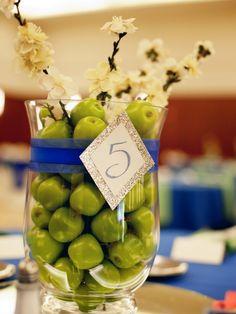 Green Fruit centerpiece. Blue and Green West Virginia Wedding by La Candella Weddings